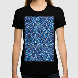 Sparkly Blue & Silver Glitter Mermaid Scales T-shirt