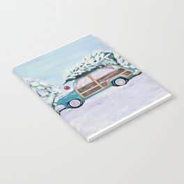 Blue vintage Christmas woody car with pine tree Notebook