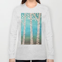 Turquoise birch forest Long Sleeve T-shirt