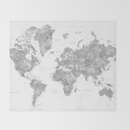 Grayscale watercolor world map with cities Throw Blanket