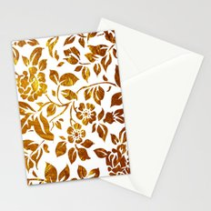 Gold flowers Stationery Cards