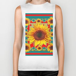 Red & Teal Sunflowers Pattern Art Biker Tank