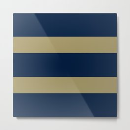 Blue and Gold Horizontal Stripes Metal Print