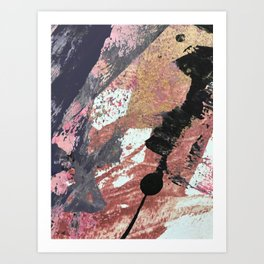 01015: colorful pink purple and gold abstract Art Print