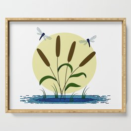 Cattails and Dragonflies Serving Tray
