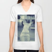 dog V-neck T-shirts featuring Dog by Falko Follert Art-FF77