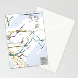 New York Subway Map Stationery Cards