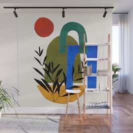 'Garden Gates' Abstract Geometric Shapes Paper Collage Colorful Arrangement Mid Century Modern Cool Funky Style by Ejaaz Haniff Wall Mural