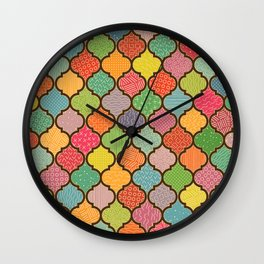 Moroccan Tiles with Hand-drawn patterns Wall Clock