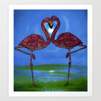 flamingos Art Prints featuring Flamingos by Ben Geiger