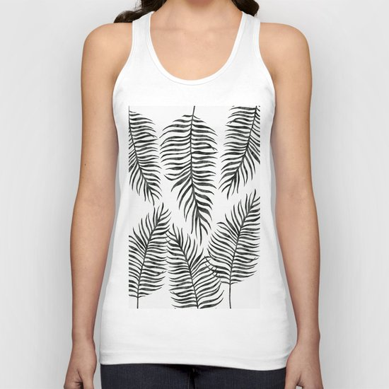 Black Fern Pattern Unisex Tank Top