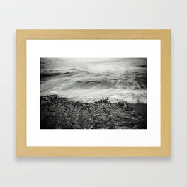 Hawaii Ocean Wave Receding (Black & White) Framed Art Print