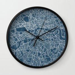 London Blueprint Street Map, London Colour Map Prints Wall Clock