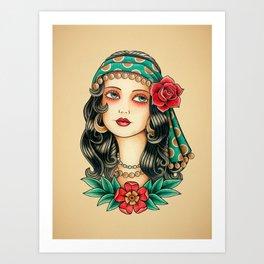 Gipsy tattoo Art Print