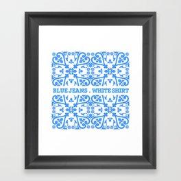 blue jeans, white hirt Framed Art Print