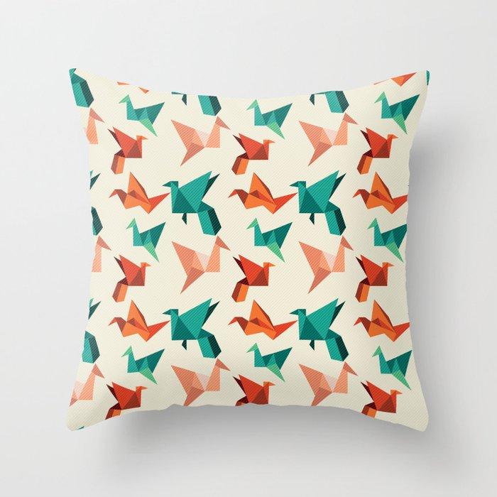teal paper cranes Throw Pillow
