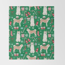 Akita christmas dog breed pattern snowflakes mittens candy canes stockings Throw Blanket