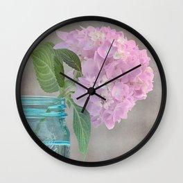Pink Hydrangea in Blue Jar Vase -- Still Life Wall Clock