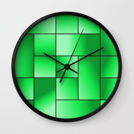 Green Gradient Squares Wall Clock