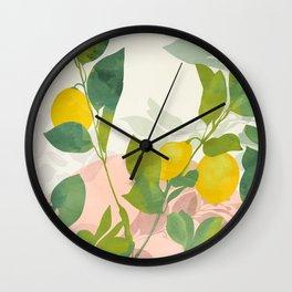 peachy lemons pastel Wall Clock