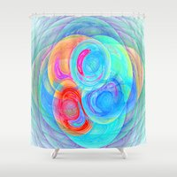 planets Shower Curtains featuring abstract planets by haroulita
