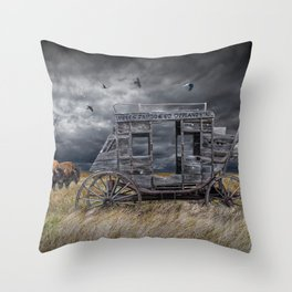 Abandoned Wells Fargo Stage Coach Throw Pillow