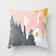 Gray and pink abstract Throw Pillow