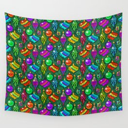 Tie Dye Holiday Ornaments Wall Tapestry