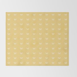 Minimal Butterfly Pattern - Yellow Throw Blanket
