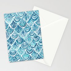 NAVY LIKE A MERMAID Fish Scales Watercolor Stationery Cards