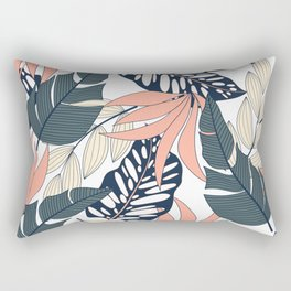 Summer seamless tropical pattern with bright plants and leaves on a white background. Exotic jungle wallpaper. Modern abstract design for fabric, paper, interior decor. Rectangular Pillow