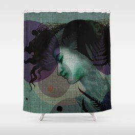 """The Girl and the Moon Burlap Texture"" Shower Curtain"