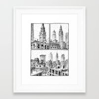 cleveland Framed Art Prints featuring Snowy Cleveland by Joseph Remnant