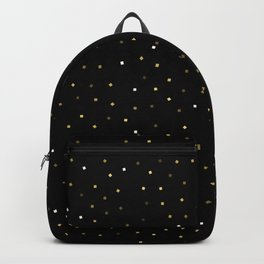 Simple Christmas seamless pattern Golden Confetti on Black Background Backpack