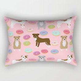 Pitbull dog breed donuts doughnut dog art pibble dog lover rescue pupper Rectangular Pillow