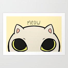 Meow - Yellow Art Print