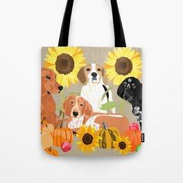 Coonhound Autumn Tote Bag