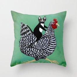 Cat on a Chicken Throw Pillow