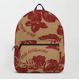 Mele Kalikimaka Vintage Pareau Hawaiian Hibiscus  Backpack