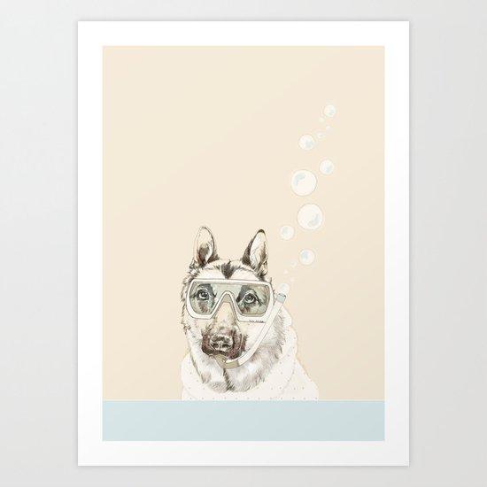 Diver Dog Art Print