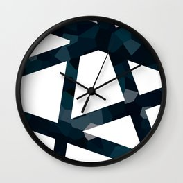 Navy Blue Polygon Abstract Lines Wall Clock