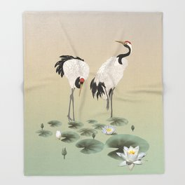 Water Lilies and Cranes Throw Blanket