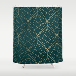 Hidden Sapphire Geometric Gold Pattern With White Shimmer  Shower Curtain