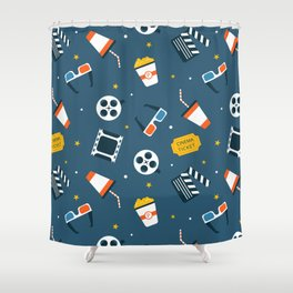 Movie Night Whimsical Pattern Shower Curtain