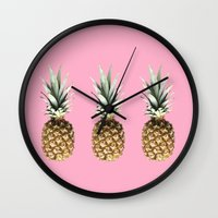 pineapples Wall Clocks featuring Pineapples by Yilan
