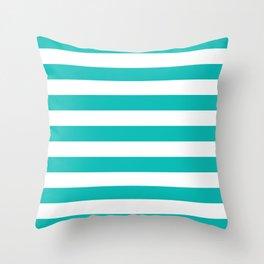 Horizontal Stripes (Eggshell Blue/White) Throw Pillow