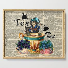 Tea Time - Alice In Wonderland - Vintage Dictionary Page Serving Tray