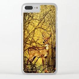 Golden Autumn Deer Clear iPhone Case