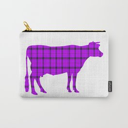 Cow: Purple Plaid Carry-All Pouch
