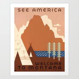 Vintage Montana Travel and Tourism Poster, 1938 Art Print